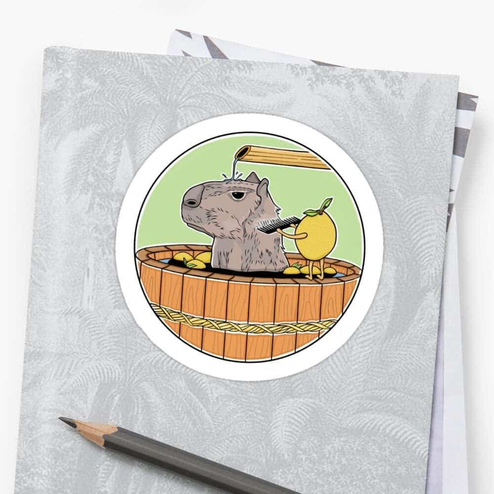 Relaxing Capybara Spa Day Stickers